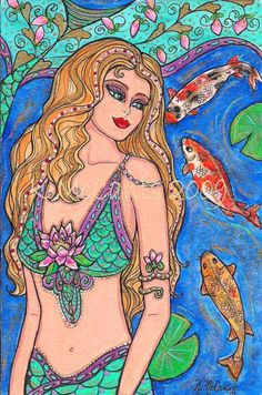 "Gorgeous Blonde Mermaid Fantasy Koi Fish  Lotus Flower 6""x4"" ART PRINT of original painting by K.McCants"