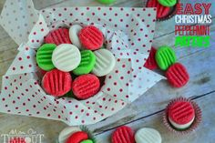 You're going to love this Easy Christmas Peppermint Patties recipe! Super easy to make, fantastically festive, and always a hit with kids and adults alike. These holiday treats are the perfect addition to cookie trays and make an excellent gift for teachers and friends! | MomOnTimeout.com #Christmas #candy #recipe