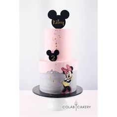 Riley likes colour schemes and minimal decoration with big impact. Torta Minnie Mouse, Mickey And Minnie Cake, Bolo Mickey, Mickey Cakes, Mini Mouse Birthday Cake, Mini Mouse Cake, 4th Birthday Cakes, Mickey Mouse Birthday, Friends Cake