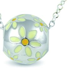 """Daisies White Cute Sterling silver hand painted pendant (Lrg) """"Celebrate your inner-child."""" #jewelry #sterlingsilver #handpainted"""