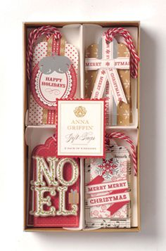 Anna Griffin - Christmas Kraft Collection - 3 Dimensional Gift Tag Set with Foil Accents at Scrapbook.com $4.00
