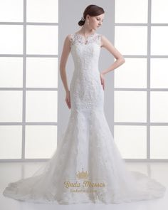lindadress.com Offers High Quality Ivory Mermaid Lace Illusion Neckline Wedding Dress For Petite Brides,Priced At Only USD USD $210.00 (Free Shipping)