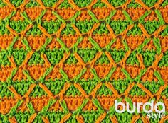 Схема вязания двухцветного узора с ромбами из журнала «Маленькая Diana. Специальный выпуск» 4/2015
