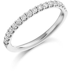 Micro-Claw Set 0.33ct Diamond Half Eternity Ring ❤ liked on Polyvore featuring jewelry, rings, round ring, claw jewelry, diamond jewelry, eternity rings and diamond eternity rings