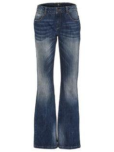 Modisch ausgestelltes Hosenbein. Baumwolle mit Elasthan für perfekten Sitz. 5-Pocket-Style mit Tragefalten. Leicht vertiefte Leibhöhe Schrittlänge bei Normal-Größen ca 85 cm, bei Kurz-Größen ca 79 cm. Materialzusammensetzung: Obermaterial: 98% Baumwolle, 2% Elasthan...
