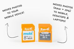 Eye-Fi Wireless sd card...moves pictures from camera to mobile device /tablet and upload to desktop computer.