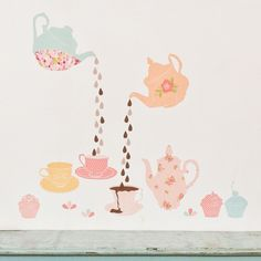adorable tea time fabric wall decals!