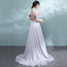 Modern / Fashion Grey Pierced Evening Dresses 2017 A-Line / Princess High Neck Strapless Beading Crystal Sash Sweep Train Backless Formal Dresses Glamorous Evening Dresses, Burgundy Evening Dress, Grey Evening Dresses, Formal Dresses, Wedding Dresses, Fashion Silhouette, Basic Outfits, Modern Fashion, Dress Patterns