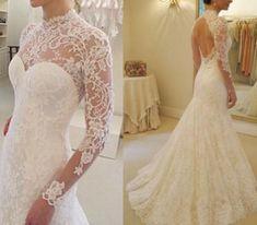 Open back vintage lace wedding dress 42