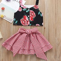 Fashion Toddler Little Girl Flower Crop Top Matching White and Red Plaid Big Bow Skirt Baby Outfits, Little Girl Outfits, Little Girl Fashion, Toddler Fashion, Kids Outfits, Kids Fashion, Little Girl Skirts, Casual Outfits, Fashion Top