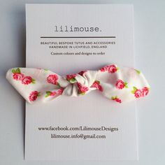 Vintage floral topknot headband white / ivory by LilimouseDesigns