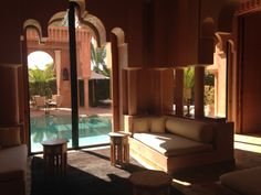 Amanjena, Marrakech, Morocco Marrakech Morocco, Resorts, Hotels, Curtains, Vacation, Places, Room, Furniture, Home Decor