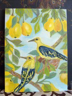 """Животные ручной работы. Ярмарка Мастеров - ручная работа. Купить Картина """"Иволга в грушах"""". Handmade. Картина, ветка, гнездо"""