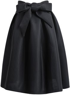 Black Bow Vertical Stripe Skirt