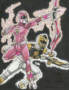 MMPR 20th Anniversary: Pink and White Rangers #Art by: BS--COMICS #∆∆shani 💖