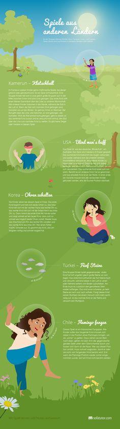 """Bei uns kennt man Spiele wie """"Himmel und Hölle"""" oder Seilspringen. Aber was spielen Kinder in anderen Ländern gerne? Unsere Infografik zeigt's."""