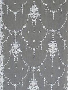 "RARE Exquisite Antique Tambour Applique French Net Curtain Panels 116 x 44""   eBay Vintageblessings"