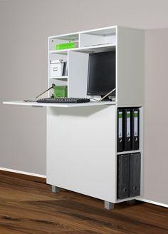 1195-1 moderner Wandsekretär od. PC-Schrank (weiß): Amazon.de: Küche & Haushalt