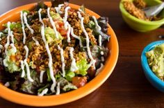 Inspired by The Naked Sprout's taco salad, this is my at-home raw taco salad recreation. This recipe looks long, but don't let that put you off