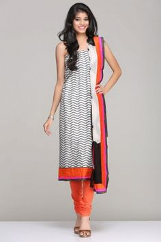 White & Black Unstitched Suit With Ikat Handloom Kurta And A White And Black Ikat Inspired Print Chiffon Dupatta