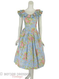 80s Floral Cotton Garden Party Dress - med, lg