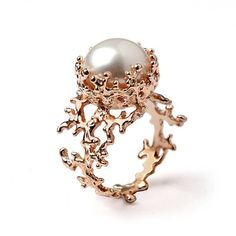 CORAL Rose Gold Ring Gold Pearl Ring Pearl Engagement Ring AroshaTaglia on Etsy