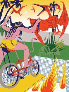 VO | Valérie Oualid : Agent d'illustrateurs | Ludwick Hernandez | L'été Noodle, Illustration, Exotic, Drawings, Animals, Color, Art, Drawing Drawing, Noodles