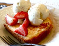 Pan Fried Pound Cake with fresh strawberries and vanilla bean ice cream...Ahhhh, heavenly!