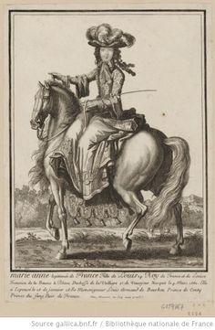 """""""Anne Marie de Bourbon, princesse de Conti, à cheval"""", Henri Bonnart, ca. 1695; Bibliotheque National"""