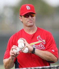 Matheny has got some balls!!!! :)   Throwing at batting practice!!!!