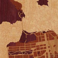 Gorgeous color choice -- 8x8 Woodcut Map of San Francisco, California