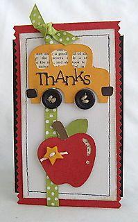 Cricut card for a teacher or school bus driver Teacher Appreciation Cards, Teacher Cards, Teacher Gifts, Scrapbook Paper Crafts, Scrapbook Cards, Scrapbook Rooms, Cricut Cards, Graduation Cards, Paper Cards