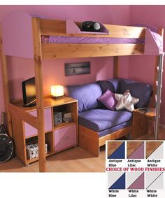 unique kids bunk beds... I really like the couch and tv deal they have going on!