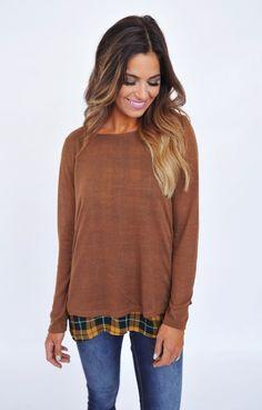 Brown Split Back Plaid Top - Dottie Couture Boutique