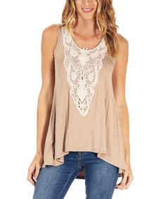 Look at this Mocha Crochet Cutout Tank on #zulily today!