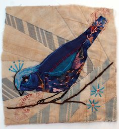 Unframed appliqued bird with embroidery on to vintage crazy #quilt scrap. £20.00, via Etsy. by #MandyPattullo