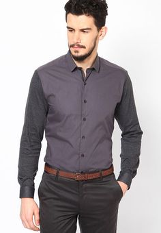 Perfect for evening parties, this grey clubwear shirt by Wills Lifestyle is an excellent pick for your party wear collection.