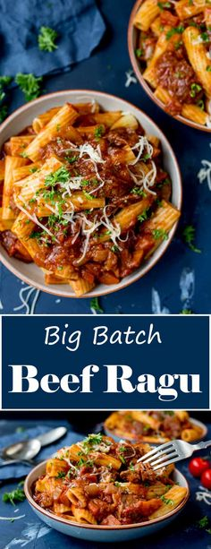 This Big Batch Beef Ragu with Pasta easily feeds 8 people. You can make the ragu ahead of time and reheat just before serving! Slow Cooked Beef, Crock Pot Slow Cooker, Slow Cooker Recipes, Meat Recipes, Pasta Recipes, Vegetarian Recipes, Chicken Recipes, Cooking Recipes, Lamb Recipes