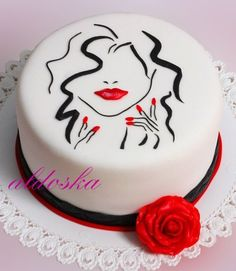 Feminine white, black and red cake by Aldoska. Gorgeous Cakes, Pretty Cakes, Amazing Cakes, Fondant Cakes, Cupcake Cakes, Torta Animal Print, Hand Painted Cakes, Red Cake, Cakes For Women