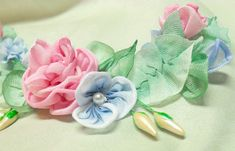 French Ribbonwork Ribbon Flower Applique Hand MadePink Roses
