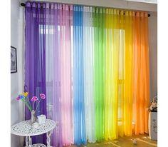 50 Beautiful Home Curtain Designs Ideas - Dekoration Rainbow Curtains, Rainbow Bedroom, Rainbow Room Kids, Colorful Curtains, Curtain For Door Window, Door Curtains, Bedroom Curtains, Bay Window, Curtains For Kids
