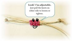 square knot sennit adjustable sliding closure instructions - not difficult   #handmade #DIY #craft #jewelry #knotting #macrame