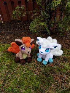 Pokemon Inspired: Vulpix Amigurumi (Crochet Plushie/Plush Toy) - Kanto and Alola - MADE TO ORDER! Handmade plushie (in crochet Amigurumi style) of the most loved fox Pokemon, Vulpix! Both Vulpix are made in a sitting pose at roughly 9in tall, 7in long and 7in wide. They both feature all of their original details as shown in the games and anime. Alola Vulpix has her 6 tails brushed out for a fluffy/snowy look, as is the fluff on her head. The weight of their tails does not allow them to sit u