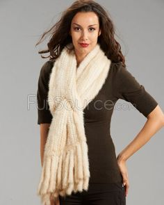 Knitted Mink Pull Through Fringe Scarf / Shawl - Pearl Mink Stole, Mink Jacket, Cashmere Cape, Rabbit Fur Coat, Fur Cape, Fur Blanket, Fringe Scarf, Fur Fashion, Fur Trim