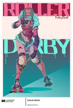 EVELIN UNFER | Ilustración para la muestra Roller Derby de Ilustradores Argentinos