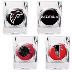 The Atlanta Falcons Four Piece Shot Glass Set features different logos on each glass depicting the changes of the Falcons logo and helmet design over the years.  Makes an awesome gift for any Atlanta fan!