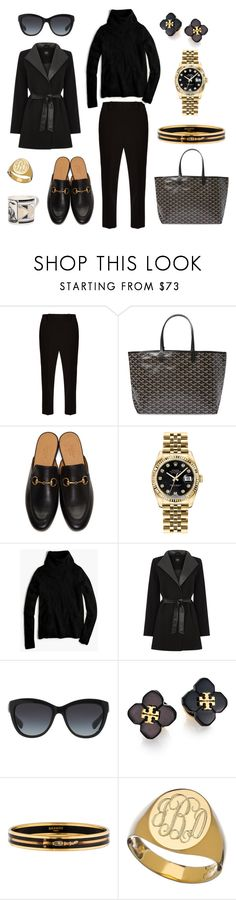"""All Black at Work: Glam"" by pinkngreennblack ❤ liked on Polyvore featuring The Row, Goyard, Gucci, Rolex, J.Crew, Oasis, Dolce&Gabbana, Tory Burch, Hermès and Sarah Chloe"