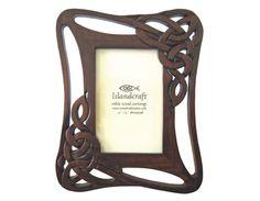 hand carved wooden Celtic knot frame