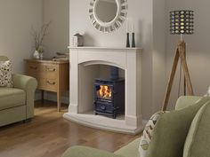 Britains Heritage FIRELINE FX5 CURVE DOOR MODEL IN LIMESTONE CAMELIA WITH CHAMBER