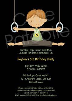 Boys Gymnastics Birthday Invitation Boys Gymnastics Birthday Party Invitations Printable Digital. $15.00, via Etsy.